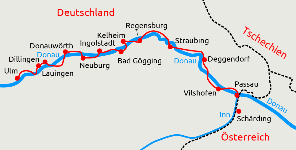 Donauradweg Ulm Passau Karte.Radtour